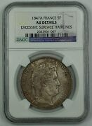 1847-a France 5 Franc Silver Coin Ngc Au Details Excessive Surface Hairlines Akr