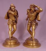 Pair Of Antique Gilt Bronze Cavaliers Inscribed Ele.guillemin French 1841-1907