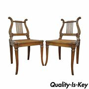 Pair Vintage French Empire Neoclassical Style Carved Harp Lyre Back Side Chairs