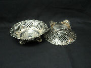 Stunning Pair Of 19th C. Sterling Pierced Footed 7 Bowls By Whiting New York