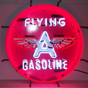 Neon Sign Flying A Gasoline Gas And Oil Pump Globe Wall Lamp Light Tydol Veedol