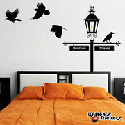 Gas Lamp Street Sign Post With Crows Vinyl Decal - Fits Corner Or Flat Wall K523