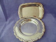 Vintage Set 2 Pc Oneida Usa Coasters Or Plates Silver Plate Design Fowers And