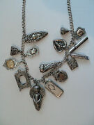 Unusual 29 Sterling Silver Necklace W/ 15 Antique Sterling Charms 168 Grams