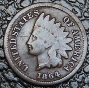 1864 L United States Of America - One Cent - Indian Head -double Date-rare - Ncc