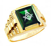 Freemason Green Square And Compass Gold Masonic Menand039s Ring Letter G