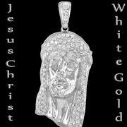 10k 14k White Gold Jesus Christ Face Menand039s Aaa-grade Clear Cubic Zircona Pendant