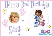 Large Kids Doc Mcstuffins Birthday Poster Banner Personalised Name Text Photo