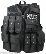 Black Police Swat Military Fbi Tactical Raid Vest Patches Not Included 6785