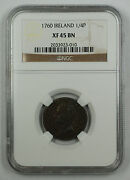1760 Ireland Regal Copper 1/4 Penny Coin Ngc George Ii Xf 45 Bn Brown Akr