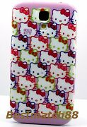 For Samsung Galaxy S4 Case Cover Kitten Hello Kitty Face Bow Purple Hot Pink Siv