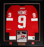 Gordie Howe Detroit Red Wings Signed Red Jersey Nhl Hockey Collector Frame