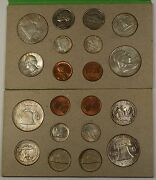 1958 Pandd U.s. Naturally Toned Complete Double Mint Set 12 Silver Coins 20 Total