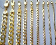 2mm- 11mm 14k Solid Yellow Gold Cuban Link Women/ Menand039s Necklace Chain 16-30