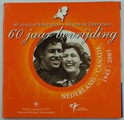 2005 Canada-netherlands 60 Years Of Liberation Euro Set With .925 Silver Token