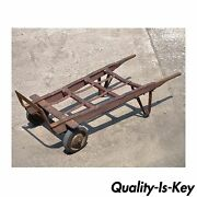 Antique Industrial Steampunk Distressed Iron And Wood Hand Truck Cart Coffee Table