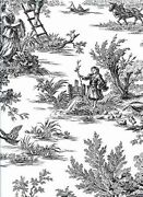 Black And White Colonial Toile Sure Strip Wallpaper At4228