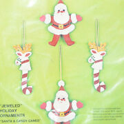 Vintage Bucilla Santa And Candy Canes Reindeer Jeweled Christmas Ornaments 2116