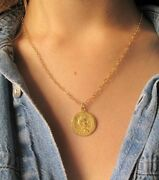 Antique Style Roman Coin 14k Gold Plated Charm Pendant Necklace Greek Round New