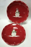 2 Tracy Porter Jolly Oland039 Snowy Dinner Plates Red White Candy Stripes Snowman