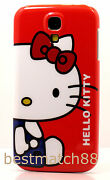 For Samsung Galaxy S4 Withe Blue Red Bow Case Cover Cute Hello Kitty Kitten Siv