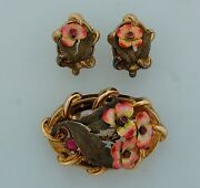 Victorian Enamel Red Stone Yellow Gold Set Of Earrings Pin Brooch Clip-exquisite