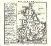 Antique Map, Badeslade And Toms, 1742, South Wales ..