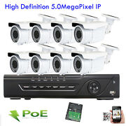 Hd 8ch H.265 Nvr 2592p 5mp Poe Ip Ip66 Onvif Outdoor Osd Security Camera System