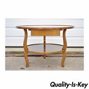 Vintage Custom Quality French Country Solid Wood Round Occasional Coffee Table