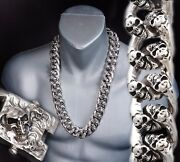 24 840g Heavy Chunky Biker Curb Chain Skull 925 Sterling Silver Mens Necklace