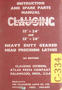 Clausing 13, Colchester Lathes, Instructions And Spare Parts Manual 1957