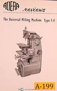 Aciera Type F4 Universal Milling Machine Facts And Features Manual