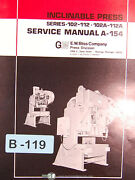 Bliss Series 102 112 102a-112a Inclinable Press Service Manual 1987
