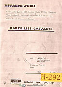 Hitachi 2ml-v, Metric And Inch Dimension Milling Machine, Parts Lists Manual 1967