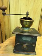 Early Primitive Wood Lap-type Coffee Mill Grinder With Brass Hopper Pr105