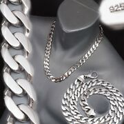 122g 22 Curb Cuban Chain Heavy Link 925 Sterling Solid Silver Mens Necklace Pre