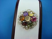 Amazing 14k Yellow Gold Multi-color Genuine Stones And Pearls Vintage Brooch