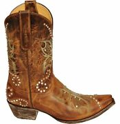 Old Gringo Yippee Ki Yay Butterfly Santa Brown Leather Snip Toe Boots Yl027-4