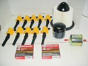 1999-2004 F250 Superduty 10pc Yellow Coil Dg508+ 10pc Plug Sp479 And Filter Kit