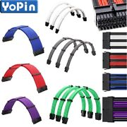 Braided Atx Sleeved Extension Cable For Power Supply 24pin 6pin 8pin 4+4pin Lot