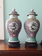 Pair Antique Chinese Famille Rose Jars, Vases, Early 19th Century Qing, Covers