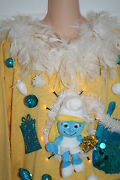 Ugly Christmas Sweater Diva Smurfette Smurf Feathers One Size Lights Up 5617