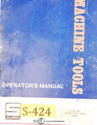 Summit 4 1/8 Hbm, Milling Machine, Operations Parts And Electrical Manual 1941