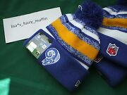 St. Louis / L.a. Rams New Era Knit Pom Hat Beanie Nwt Rare Nfl Onfield Throwback