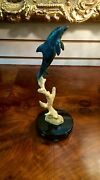 Wyland Dolphin Sculpture Bronze W/ Marble Base Signed And Dated
