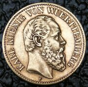 1890 F Germany Gold Coin - 10 Mark - Wuerttemberg - Nice - Rare - Ncc