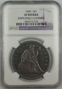 1849 Seated Liberty Silver Dollar 1 Coin Ngc Xf Details Improperly Cleaned