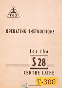 Tos S28 Center Lathe Operations And Parts Drawings Manual 1963