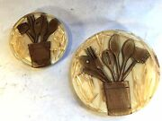 2 Vtg Mid Century Lucite Acrylic Real Straw And Wooden Spoon Trivet Coaster