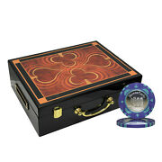 500 Monte Carlo Coin Inlay Poker Chips Set High Gloss Wood Case